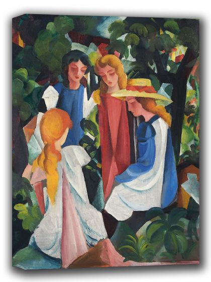 Macke, August: Four Girls. Fine Art Canvas. Sizes: A4/A3/A2/A1 (002174)